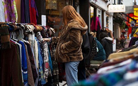 Student browsing clothing in the North Laine