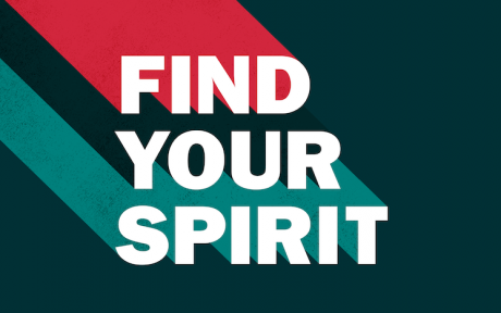 Graphic with text saying find your spirit