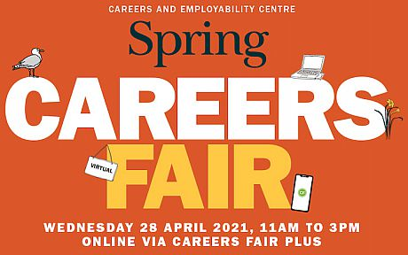 Graphic that says Spring Careers Fair